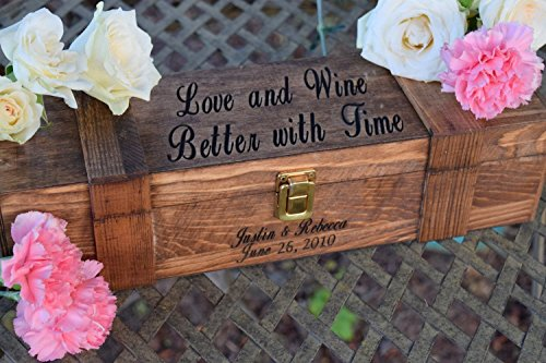 Ceremony Wine Box - Personalized Wine Box - Personalized Gift - Wedding Wine Box - Lockable Wine Box - Wine Box Gift - Love and Wine Better with Time