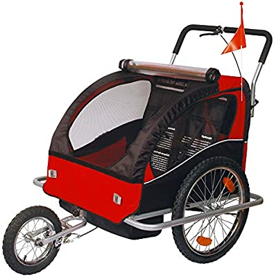 Remolque de bici para niños con kit de footing, color: rojo 502-01: Amazon.es: Bebé