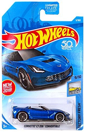 Hot Wheels 2018 50th Anniversary Factory Fresh Corvette C7 Z06 Convertible 5/365, Blue