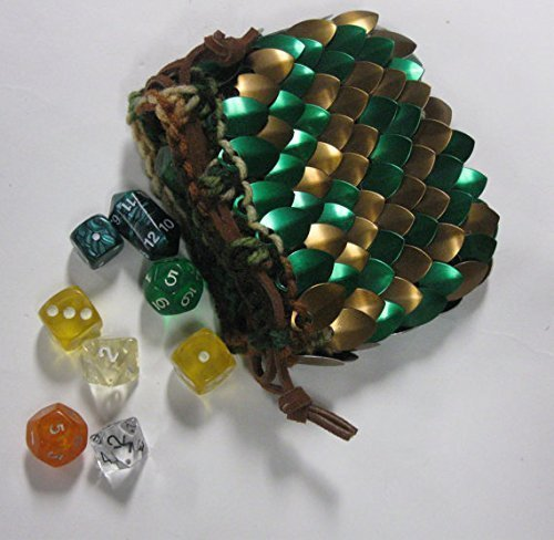 Knitted Dragonhide Dice bag - Bronze Forest