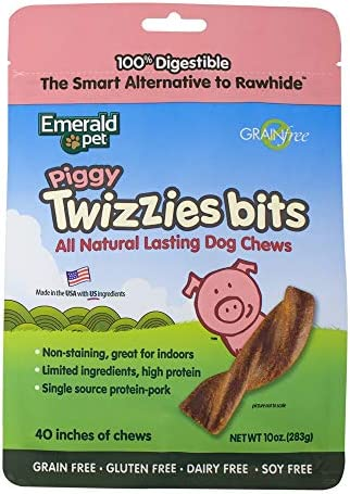 Emerald Pet – Dog Chews, Chew Treats, Rawhide Free, All-Natural Mini Chews, Lasting Dog Treat, Digestible, Grain-Free, Gluten-Free Twizzie Bits Bag, 10 Ounce