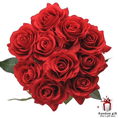 Judy Silk Roses 10 PCS Artificial Flowers Arrangements Bride Bouquet Home Décor Valentine's Day Gift (Red) Red Floral Arrangement
