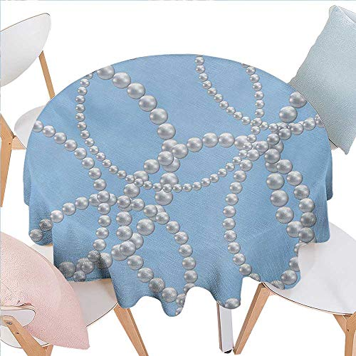 Pearls Customized Round Tablecloth Pearl Necklace Bracelet Classic Women Bridal Groom Shower Theme Feminine Art Round Tablecloth D36 Baby Blue White