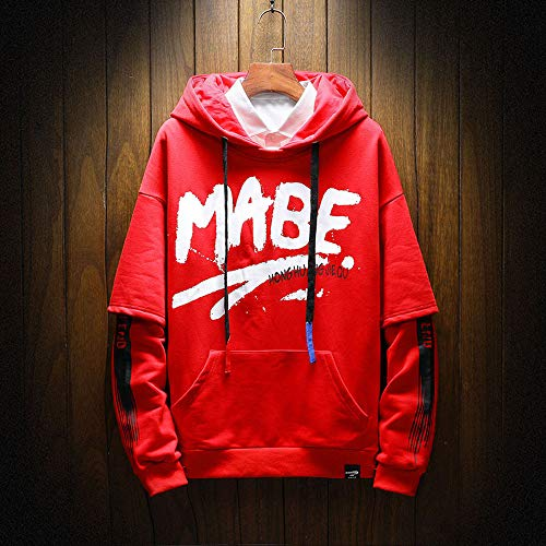 Cappotto Sweatshirt Challenge Giacca shirt Con Manica Uomo Hoodie Lunga T Pullover Lettere Inverno Outwear Top Felpa Hooded Stampata Autunno Rosso Felpe Cappuccio fnf7WPr