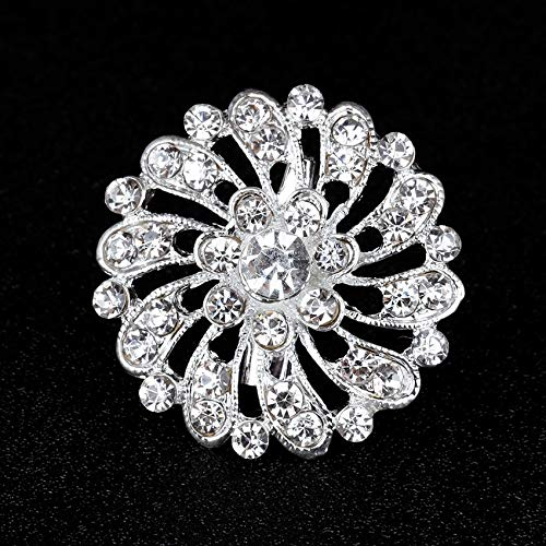 (Silver Plated Brooch Small Round Dandelion Flower Rhinestone Pins Brooches for Women Lapel Pin Jewelry Gift)