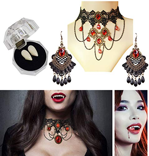 BURST Vampire Teeth Lace Gothic Necklace Earring Victorian Lolita Choker Pendant - Halloween Party Cosplay Punk Wedding Party (Red)