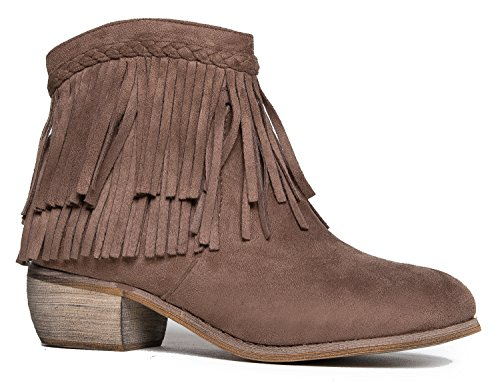 Fringe Shoes (Low Heel Fringe Ankle Bootie – Western Closed Toe Boot – Casual Comfortable Cowboy Walking Shoe - Bree by J. Adams)