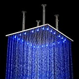 LightInTheBox 20 Inch Wall Mount Square Rainfall LED Shower Head, Stainless Steel