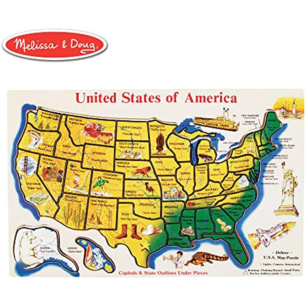 Details about Melissa Doug Map Puzzles Games Jigsaw Wooden USA States  knowledge Learning Toys