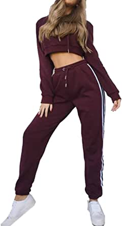FSSE Womens Two Piece Hooded Sweatshirt Top & Jogger Pants Striped Side Sports Outfit Set