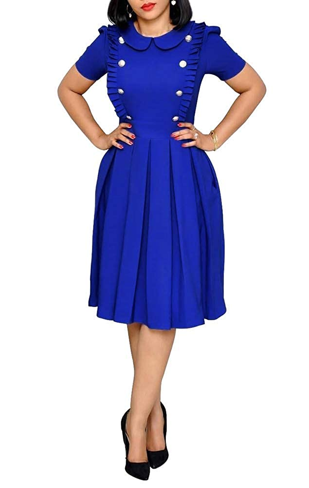bluee OLUOLIN Women's Elegant Flounce Ruffled Wear to Work Business Short Sleeve Button Decoration Ruffle Hem Pleated Midi Dress