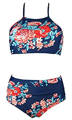 Cocoship Women's Retro Floral Ruched High Waist Bikini Set Padding Halter Swimsuit(FBA)