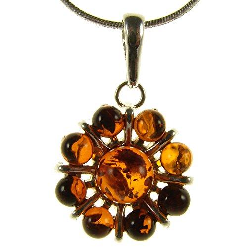 Baltic Amber Leaf Pendant - BALTIC AMBER AND STERLING SILVER 925 DESIGNER COGNAC FLOWER LEAF PENDANT NECKLACE - 10 12 14 16 18 20 22 24 26 28 30 32 34 36 38 40