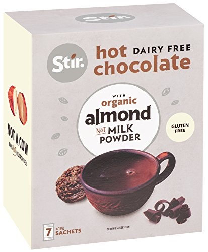 Vegan Almond Milk Hot Chocolate Mix - All in one - Just add water - Dairy Free & Gluten Free - 28 sachets - Dark chocolate - Strong Cocoa - Reduced Sugar ()