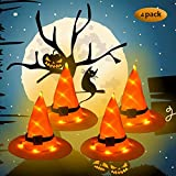 XinqiMon 4 Witch Hats Hanging Lighted Glowing Lights String Halloween Decoration Outdoor Battery Operated for Outdoor Yard Tree,Decorations (Orange Battery Included)