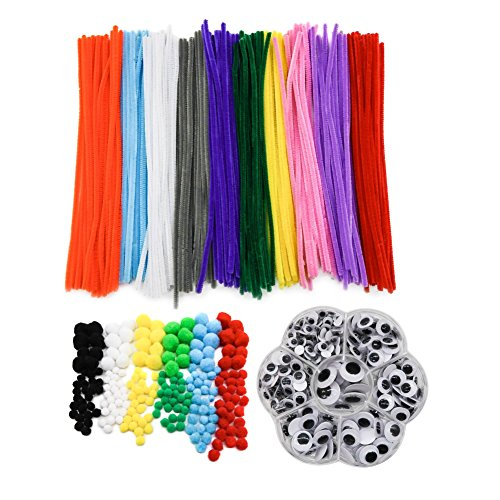 TOAOB 662pcs Crafting Kit including Pipe Cleaners Yarn Pompoms Googly Eyes Large Assortment of Colors and Size DIY Art Supplies for Children