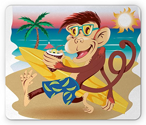 Tropical Animals Mouse Pad by Ambesonne, Hipster Monkey with Surfboard and Glasses Drinking on Beach in Sunny Day Kids, Standard Size Rectangle Non-Slip Rubber Mousepad, - Sunnies Surf