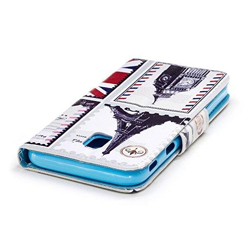 Ecoway Para Samsung Galaxy J3 Funda, Serie pintada Caja del teléfono de moda (Mariposa) PU Leather Cubierta , Función de Soporte Billetera con Tapa para Tarjetas Soporte para Teléfono Compatible Samsu Arquitectura británica