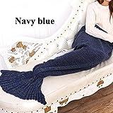 Navy Blue-Bedding Sofa Mermaid Blanket Wool Knitting Fish Style Little Tail Blankets Warm Sleeping Child Princess Loves Gift