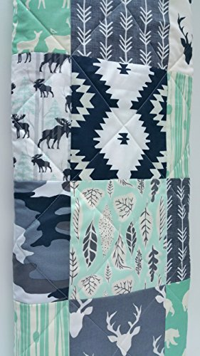 Rustic Woodland Aztec Black Mint and Charcoal Gray Baby Quilt by Now and Then Quilts