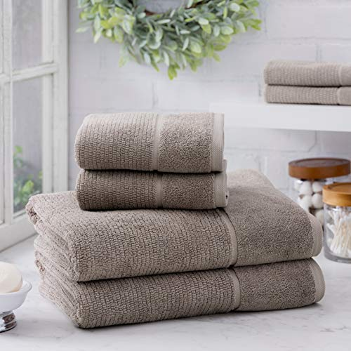 (Welhome Anderson Luxurious 100% Turkish Cotton 6 Piece Towel Set (Taupe) - Ultrasoft - Heavyweight & Super Absorbent - Hotel & Spa Bathroom Towel Collection - 600 GSM)