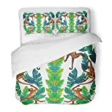 Emvency Bedding Duvet Cover Set Twin (1 Duvet Cover + 1 Pillowcase) Realistic Composition Symetrical Mirror Monkey Palm Leaves Bright Strelizia Flowers Hotel Quality Wrinkle and Stain Resistant