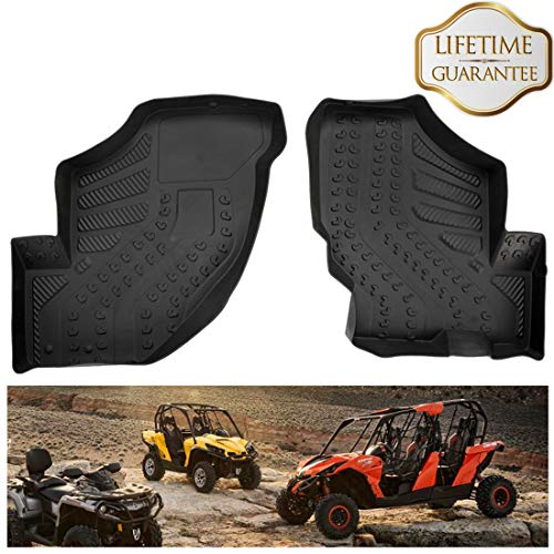 (KIWI MASTER Floor Mats Compatible for 2012-2019 Can-Am Commander/Maverick Front Row TPE Floor Liners All Weather Protection Slush Mat)
