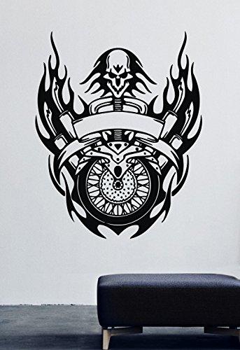 Cool Ghost Rider Chopper Logo Halloween Biker Motorcycle Moto Vinyl Wall Decals Bike Motorbike Motor Flame Man Cave Garage Vinyl Decor Stickers MK2690 ()
