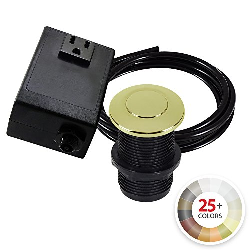 Single Outlet Garbage Disposal Turn On/Off Sink Top Air Switch Kit in Polished Brass. Compatible with any Garbage Disposal Unit and Available in 25+ Finishes by NORTHSTAR DÉCOR. Model # -