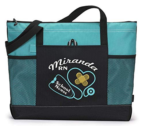 Stethoscope Band aids School Nurse, RN, Personalized Zippered Tote Bag by Simply Custom Life