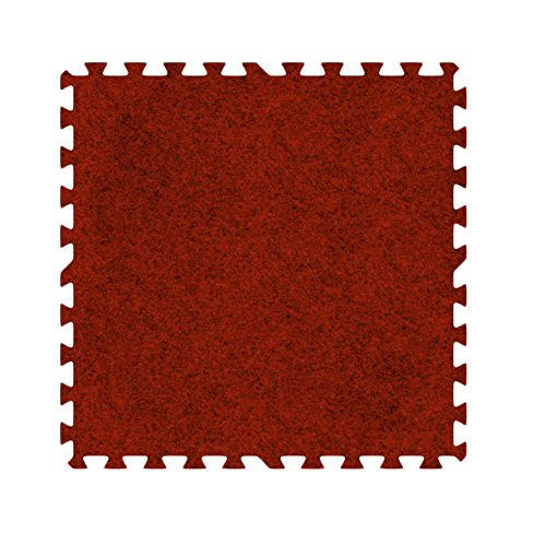 Alessco EVA Foam Rubber Interlocking Premium Soft Carpets 16' x 16' Set Red ()