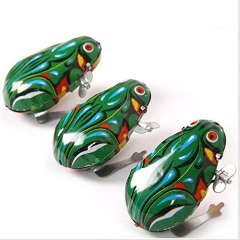 URTop 3pcs Fashion Vintage Wind Up Animal Jumping Frog Retro Classic Clockwork Tin Toy Gift Tin Frog