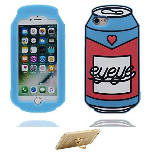 """Coque iPhone 7, iPhone 7 Étui housse, [ TPU Material Flexible ] iPhone 7 Case (4.7""""), 3D canette Résistant aux rayures & ring Support de téléphone"""