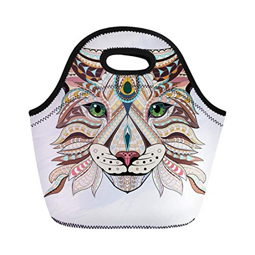 Semtomn Lunch Tote Bag Patterned Head of Lynx Wild Cat Color Doodle Animal Reusable Neoprene Insulated Thermal Outdoor Picnic Lunchbox for Men Women