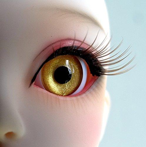 1 Pair Handmade Acrylic Pure Golden Half Ball Eyes for BJD Dollfie SD Doll