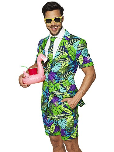OppoSuits Men's Summer Suit: Shorts, Short-Sleeved Jacket & Tie + Free Sunglasses & Cup Holder -