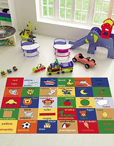 Adgo Kids Collection Anti Bacterial Rubber Backed Non Slip Multi Colors Kids Childrens Educational Spanish English Living Dining Bedroom Area Rug ...