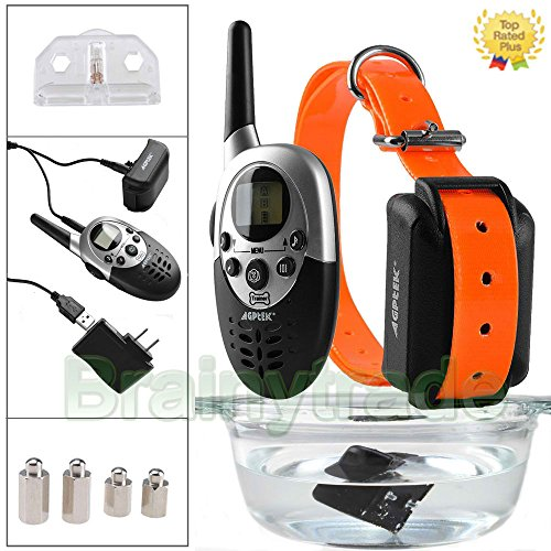 1000 Yard Waterproof Shock Vibra Remote Training Collar for Small Med Large Dog (20s Large Bulb)