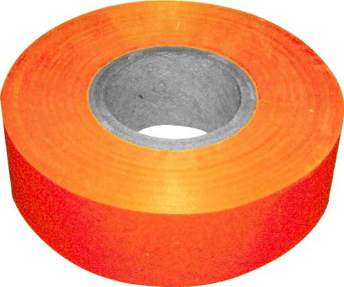 Bon 14-737 150-Feet by 1-3/16-Inch 4-Mil High Visibility Flagging Tape, Fluorescent Orange, 12-Pack