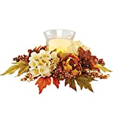Autumn Floral Tabletop Candle Holder with a Lovely Display of Chrysanthemums, Hydrangeas, Berries and Leaves in Rich Fall Colors