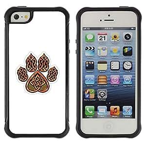"""Hypernova Defender Series TPU protection Cas Case Coque pour Apple iPhone SE / iPhone 5 / iPhone 5S [Garra de oso de Brown White Heart Patrón""""]"""