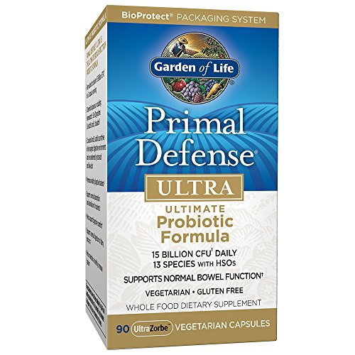 Garden of Life Whole Food Probiotic Supplement - Primal Defense ULTRA Ultimate Probiotic Dietary Supplement for Digestive and Gut Health, 90 Vegetarian Capsules