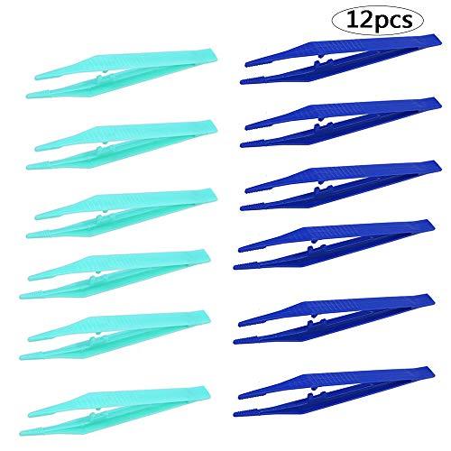(BinaryABC Disposable Plastic Tweezers Beads Medical Craft Tweezers,12Pcs(Blue and Green))