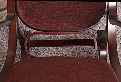 Mendler Schaukelstuhl Schwingsessel M41 aus Holz ~ Walnuss Stoff Dunkelbraun