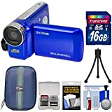 Bell & Howell DV200HD HD Video Camera Camcorder Built-in Video Light (Blue) 16GB Card + Case + Mini Tripod + Kit