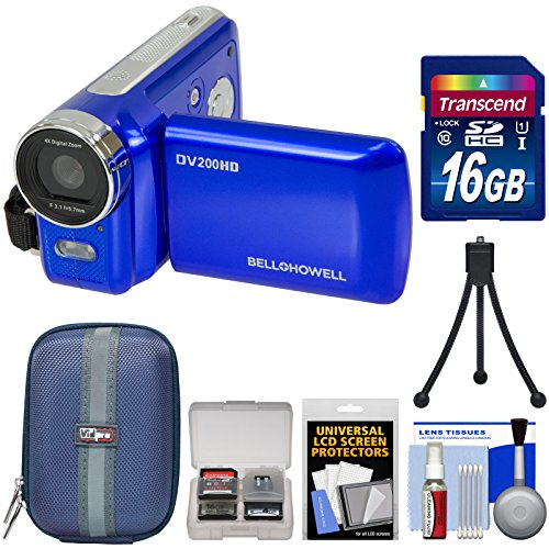 Bell & Howell DV200HD HD Video Camera Camcorder with Built-in Video Light (Blue) with 16GB Card + Case + Mini Tripod + Kit by Bell + Howell