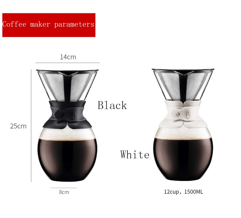 Drip Type Pouring Coffee Pot and Filter Borosilicate Glass-1.5l Black Permanent Stainless Steel Filter Without Paper Filter by YQQ-Coffee Pot (Image #4)