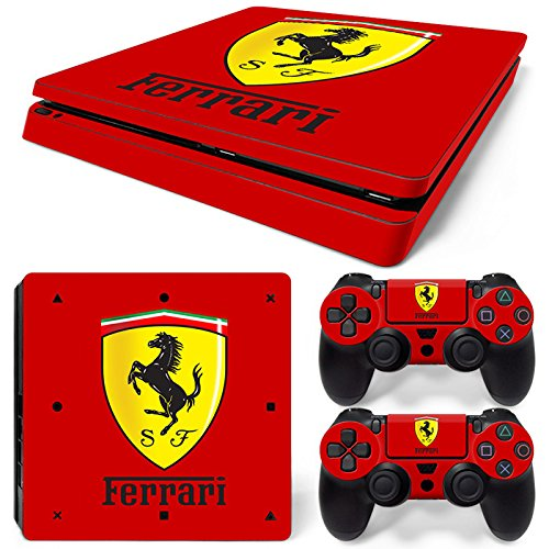 ZOOMHITSKINS PS4 Slim Skin Decal Sticker Ferrari Custom Design + 2 Controller Skins Set ()