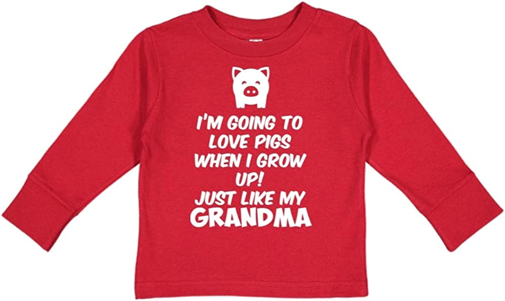 Im Going to Love Pigs When I Grow Up Toddler//Kids Long Sleeve T-Shirt Just Like My Grandma