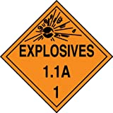 Accuform Signs MPL11VP100 Plastic Hazard Class 1/Division 1A DOT Placard, Legend ''EXPLOSIVES 1.1A 1'' with Graphic, 10-3/4'' Width x 10-3/4'' Length, Black on Orange (Pack of 100)